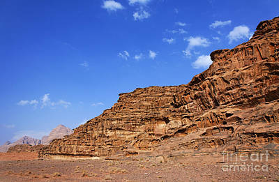 A Landscape Of Rocky Outcrops In The Desert Of Wadi Rum Jordan Art Print by Robert Preston