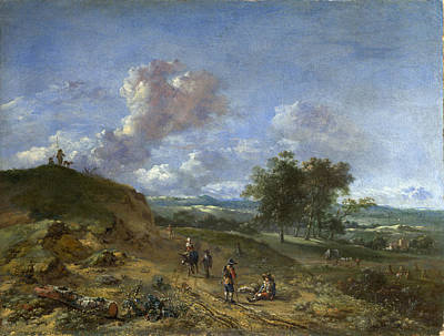 A Landscape With A High Dune And Peasants On A Road Art Print by Jan Wijnants