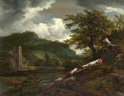 A Landscape With A Ruined Building Art Print by Jacob Isaacksz van Ruisdael
