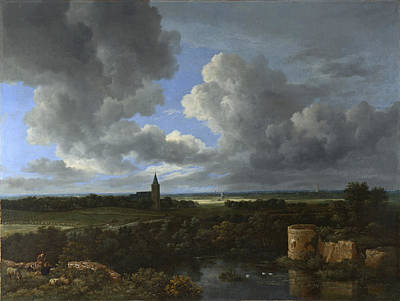 Painting - A Landscape With A Ruined Castle And A Church by Jacob Isaacksz van Ruisdael