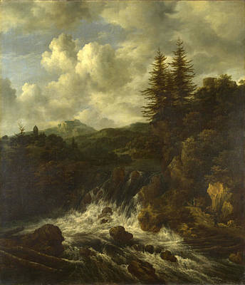 A Landscape With A Waterfall And A Castle On A Hill Art Print