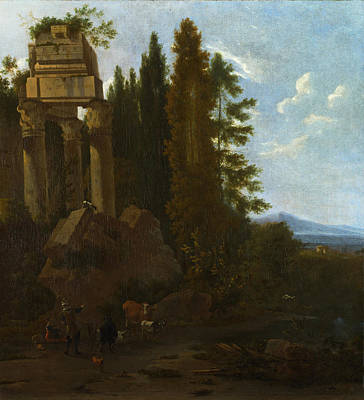 Painting - A Landscape With Classical Ruins by Frederick de Moucheron