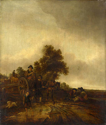 Painting - A Landscape With Peasants And A Cart by Isaac van Ostade