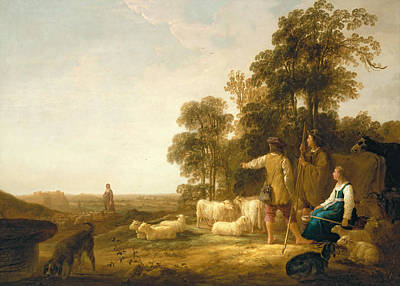 Sheepdog Photograph - A Landscape With Shepherds And Shepherdesses by Aelbert Cuyp