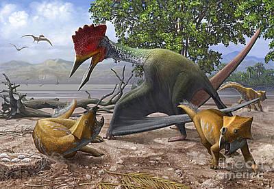 Struggling Digital Art - A Large Bakonydraco Pterosaur Attacking by Sergey Krasovskiy