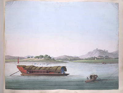 Illustration Technique Photograph - A Large Boat And A Fishing Boat by British Library