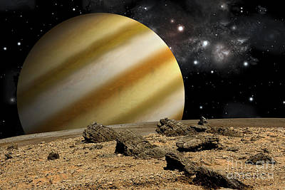 Soil Digital Art - A Large Cloud Covered Planet Rises by Marc Ward