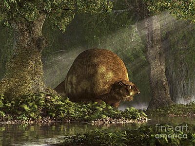A Large Glyptodon Stands Near The Edge Art Print by Daniel Eskridge