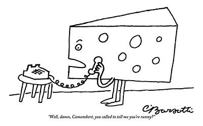 Swiss Drawing - A Large Piece Of Swiss Cheese Talks by Charles Barsotti
