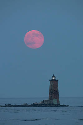 Supermoon Photograph - A Large Red Moon Over Whaleback by Robbie George