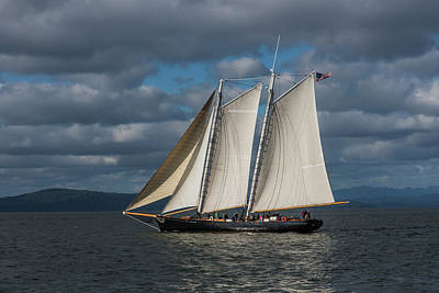 Cruising The Coast Wall Art - Photograph - A Large Sailboat Sails by Robert L. Potts