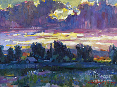 Painting - A Late Afternoon Sky Plein Air by David Lloyd Glover
