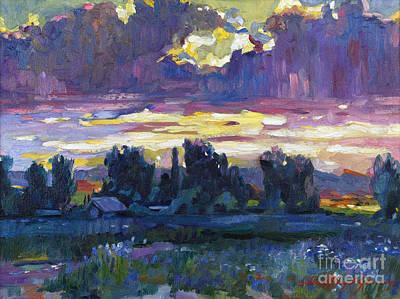 Plein Air Painting - A Late Afternoon Sky Plein Air by David Lloyd Glover