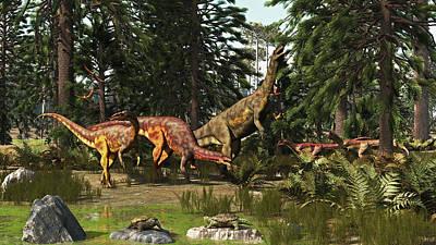 Triassic Photograph - A Late Triassic Scene With Plateosaurus by Arthur Dorety