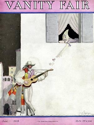 A Latin Man Serenading A Woman Art Print by Georges Lepape