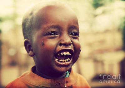 Insect Photograph - A Laughing Tanzanian Child by Michal Bednarek