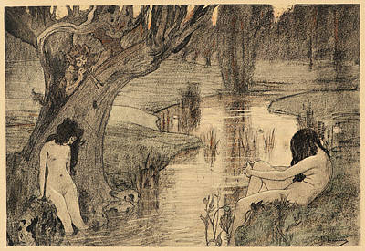 Nymphe Drawing - A. Laurens French, Active 19th Century. Le Bain Des Nymphes by Litz Collection