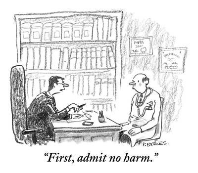 A Lawyer Gives Counsel To A Doctor Sitting Art Print by Pat Byrnes