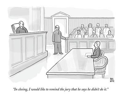 Innocence Drawing - A Lawyer In Court Addresses The Jury by Paul Noth
