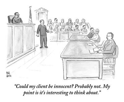 Lawyer Drawing - A Lawyer Makes His Case In Front Of A Jury by Paul Noth