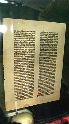 Photograph - A Leaf - Gutenberg Bible 1450-55 by Glenn Bautista