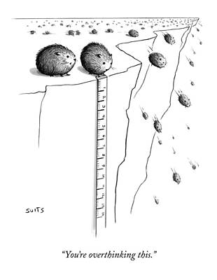Suits-julia Drawing - A Lemming Measures The Drop Off Of A Cliff by Julia Suits