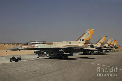 Jet Photograph - A Line Of F-16i Sufa Of The Israeli Air by Ofer Zidon