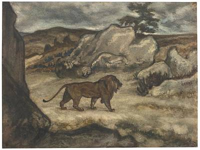 Stride Painting - A Lion Striding In A Landscape by Celestial Images