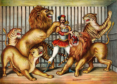 Lioness Painting - a Lion tamer in cage with two lions by Celestial Images