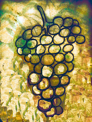 Red Wine Drawing - A Little Bit Abstract Grapes by Jo Ann