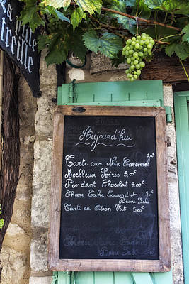 Blue Grapes Photograph - A Little Cafe Somewhere In France by Georgia Fowler