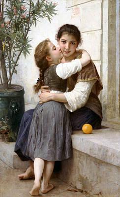 William Bouguereau Digital Art - A Little Coaxing by William Bouguereau