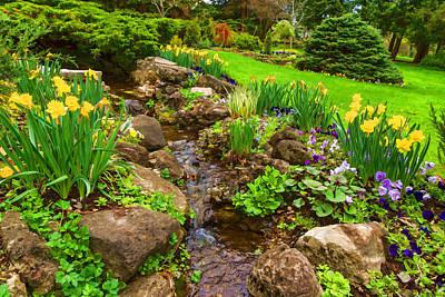 Digital Art - A Little Creek In The Garden - Impressions Of Spring by Georgia Mizuleva