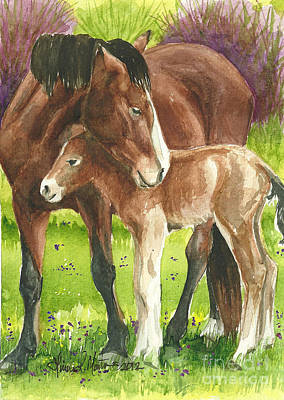 Mustang A Day Challenge Painting - A Little Cuddle by Linda L Martin