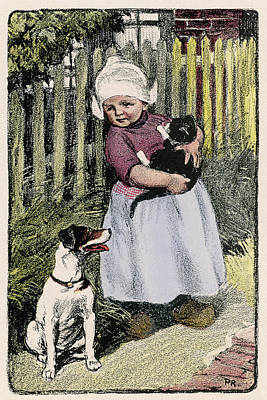 Fence Drawing - A Little Dutch Girl With Her Cat And Dog by Mary Evans Picture Library