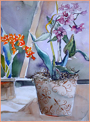 Orchids Drawing - A Little Elegance by Mindy Newman