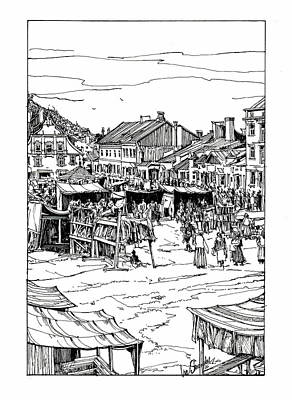 A Little Town And Marketplace In Old Galicia Original