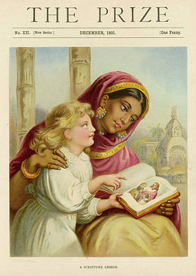 A Little White Girl Teaches An  Asian Art Print by Mary Evans Picture Library