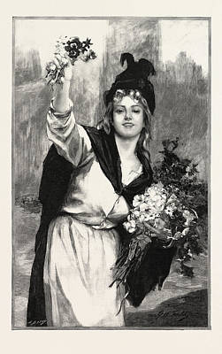 A London Flower-girl, Uk, In The Salon Des Champs Elysees Art Print by French School