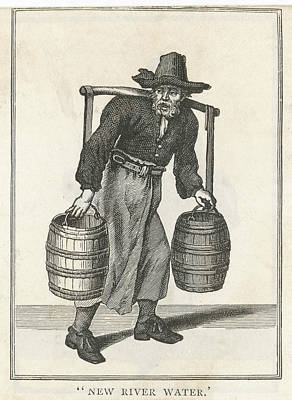 A London Water Carrier With Two Barrels Art Print by Mary Evans Picture Library