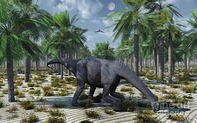Lake Life - A Lone Camarasaurus Sauropod Dinosaur by Mark Stevenson