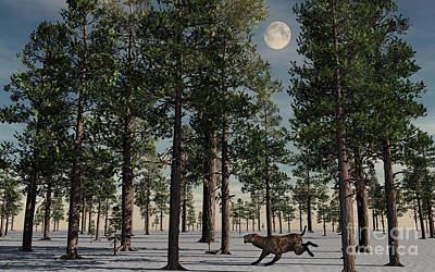 Snow Covered Trees Digital Art - A Lone Sabre-tooth Tiger Running by Stocktrek Images