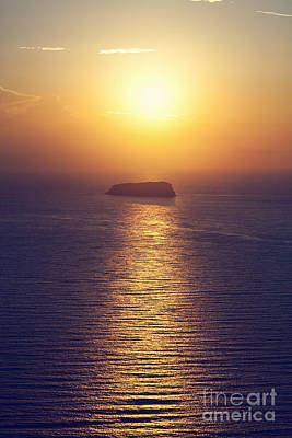 Rock Photograph - A Lonely Island On The Sea At Sunset by Michal Bednarek