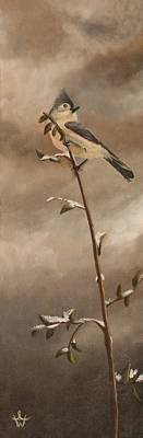 Titmouse Painting - A Lonely Lady Tuft by Ambre Wallitsch