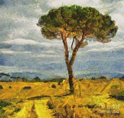 Food And Beverage Painting - A Lonely Pine by Dragica  Micki Fortuna