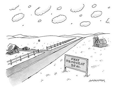 Democrat Drawing - A Long, Country Road Is Pictured With A Barn by Mick Stevens