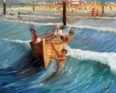 Lost At Sea Painting - A Loose Boat At Sea by Graham Keith
