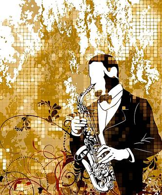 A Love For Sax Art Print by Stanley Mathis