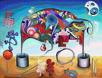 A Love Story/abstraction Of An Elephant Enhanced  Art Print by George Curington