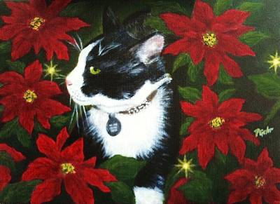 Tuxedo Cat Trouble  Art Print